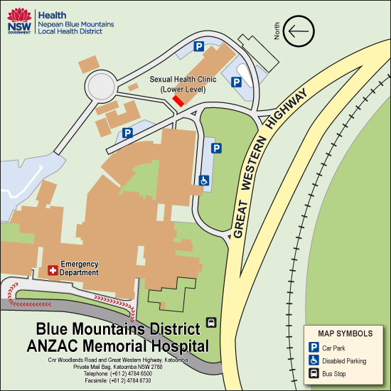 Location Map for Blue Mountains Hospital Sexual Health Clinic