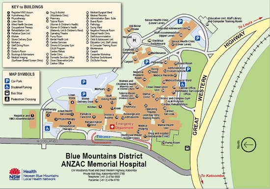 Blue Mountains Hospital Visitor Map