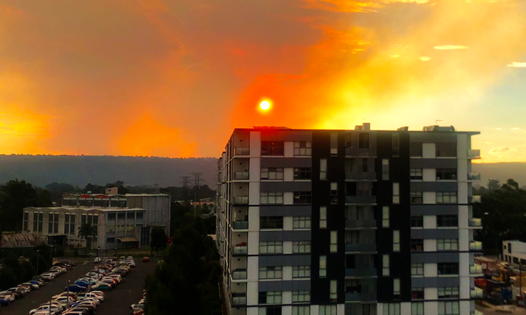 Bushfire smoke and sunset