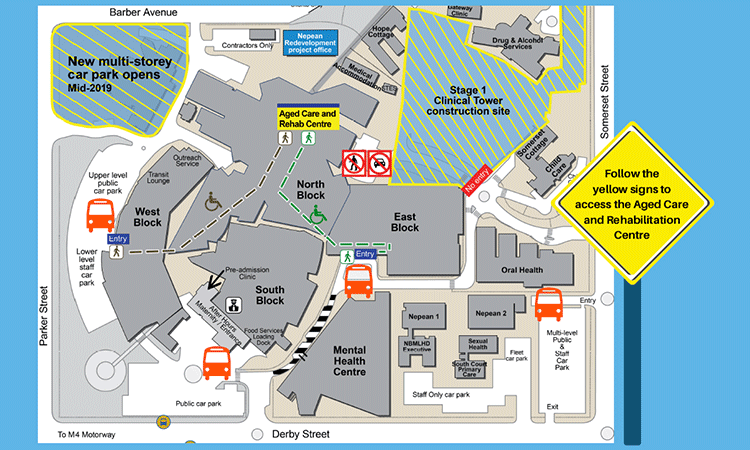 Nepean Hospital North Block access changes map