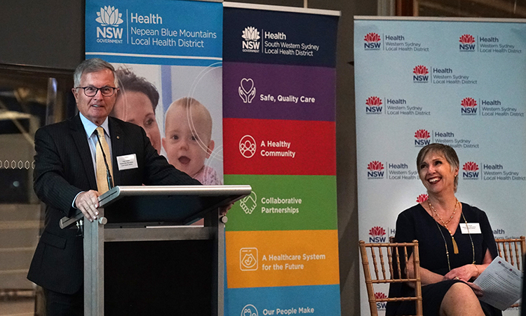 Peter Collins addresses the Greater Western Sydney Health Partnership launch